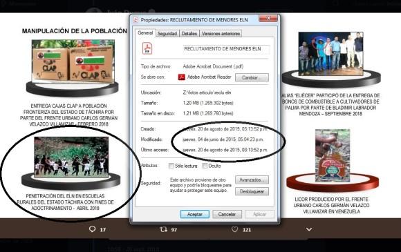 En esta imagen se muestra la foto presentada por el presidente Duque y la fecha en la que EL COLOMBIANO recibió el archivo.