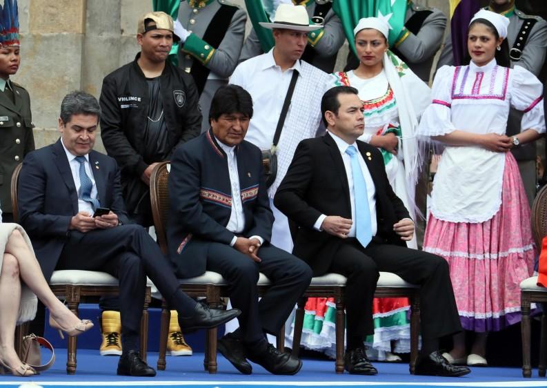 Los presidentes de Bolivia, Guatemala y Honduras. FOTO: EFE