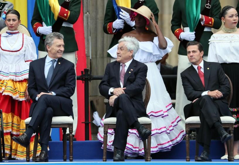 Los presidentes de Argentina, Chile y México. FOTO: EFE
