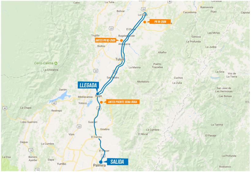 Etapa 3 (8 de febrero). Distancia 163,2 Km. Circuito Palmira- Buga, Variante Tuluá- Buga. Salida: 10:00 am (Estadio de Pamira). llegada 2:15 pm (Kra 19- Calle 4, Buga). FOTO colombiaoroypaz.com.co