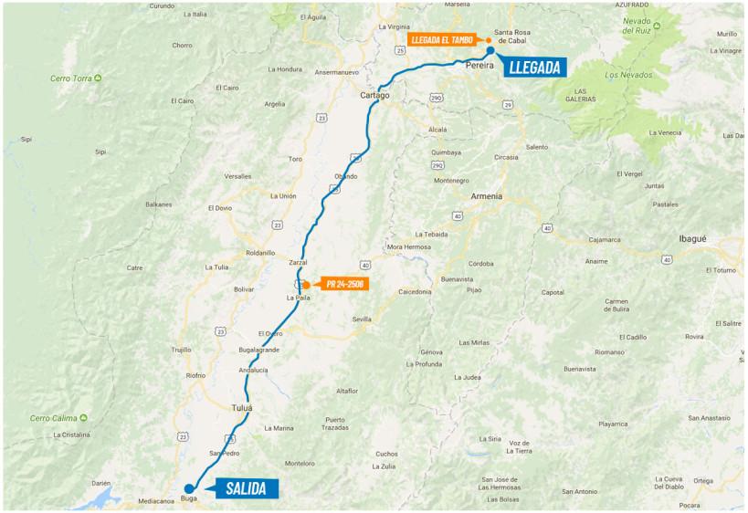 Etapa 4 (9 de febrero). Distancia 149,5 Km. Circuito Buga- Tuluá- La Paila- Cartago- Pereira- Dosquebradas- Alto Boquerón. Salida: 10:00 am (Calle 4- Kra 19, Buga). llegada 2:00 pm (Alto Boquerón). FOTO colombiaoroypaz.com.co