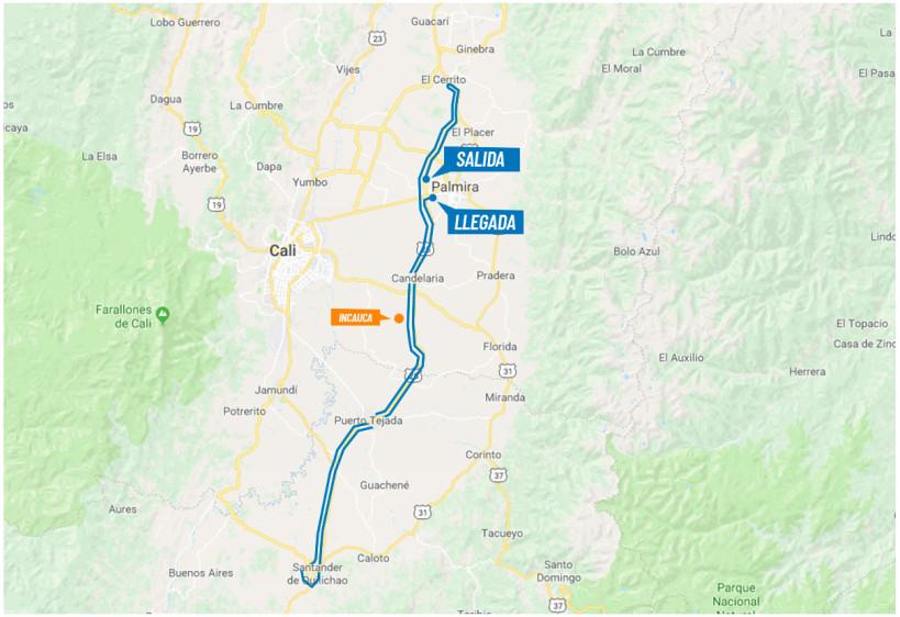 Etapa 2 (7 de febrero). Distancia 183,4 Km. Circuito Palmira- Santander de Quilichao- Cerrito- Cali- Palmira. Salida: 10:00 am (Estadio de Pamira). llegada 2:30 pm (mismo sitio). FOTO colombiaoroypaz.com.co