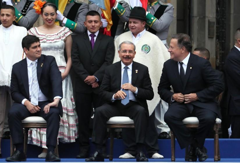 Los presidentes de Costa Rica, República Dominicana y Panamá. FOTO: EFE