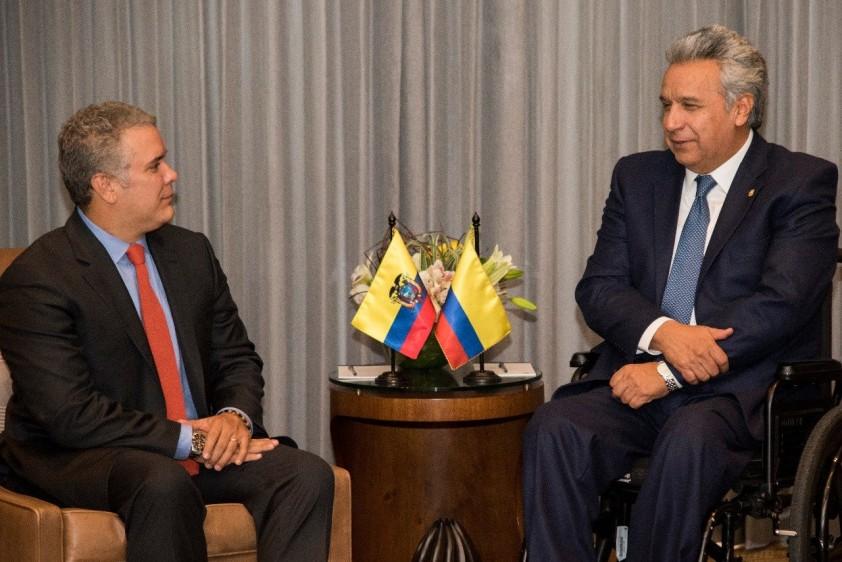 El presidente Duque con el presidente de Ecuador, Lenin Moreno. FOTO: EFE