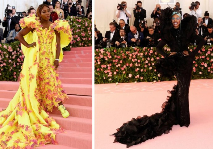 Serena Williams con tenis del mismo tono del vestido. A la derecha Laverne Cox de Orange is the new black. FOTOS AFP y Reuters