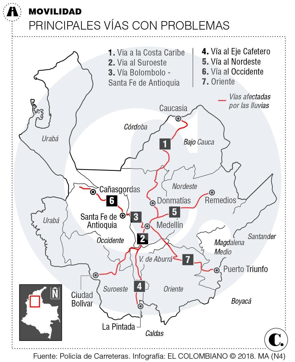 Invierno genera cierres en carreteras de Antioquia