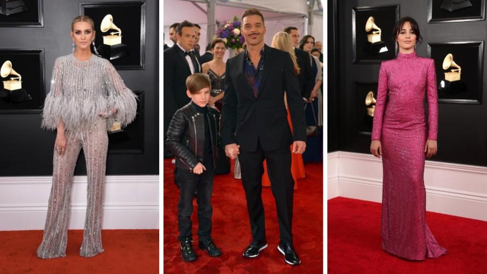Ashlee Simpson, Ricky Martin con uno de sus hijos y Camila Cabello. FOTOS Reuters y AFP