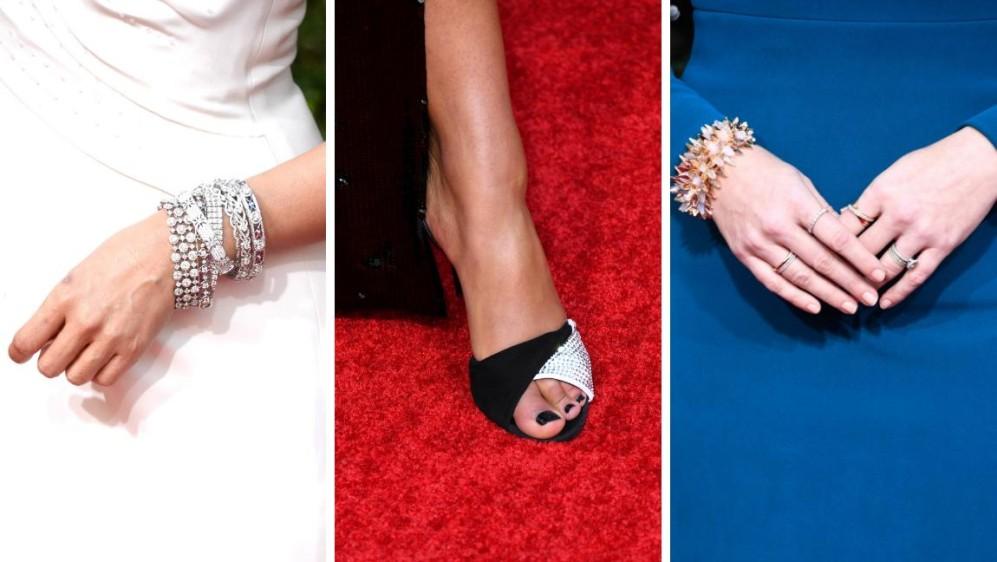 Detalles en accesorios. De izquierda a derecha Sandra Oh, Laura Harrier y Amy Adams. FOTOS AFP