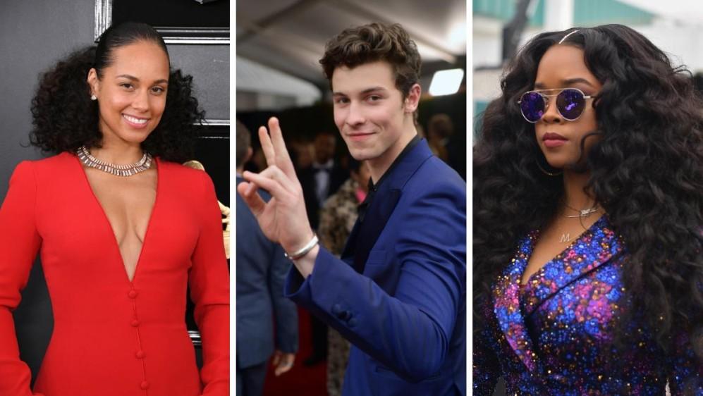 Alicia Keys, Shawn Mendes y H.E.R. a su llegada a los Grammy. FOTOS AFP