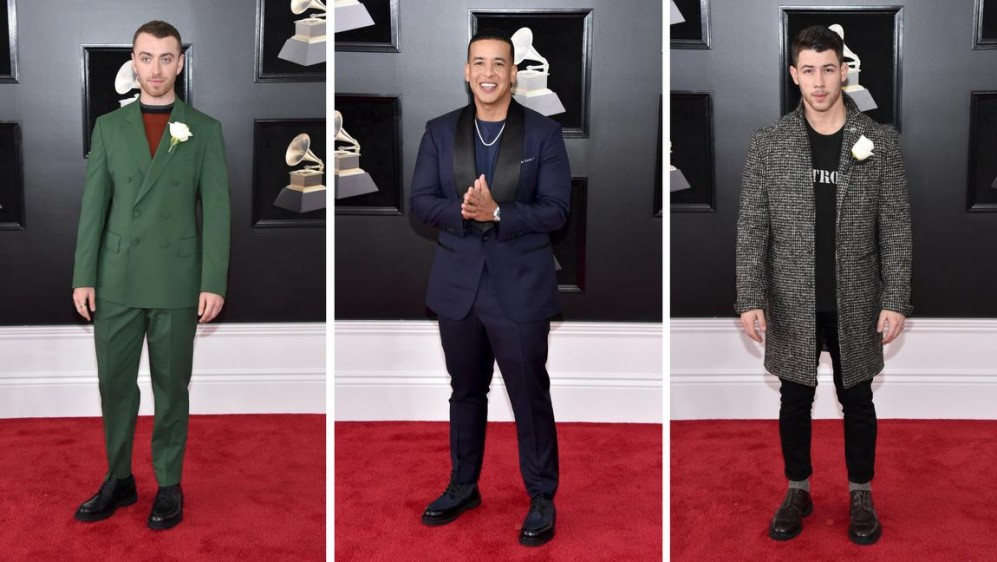 Así vistieron los caballeros, Sam Smith, Daddy Yankee y Nick Jonas. FOTOS AFP