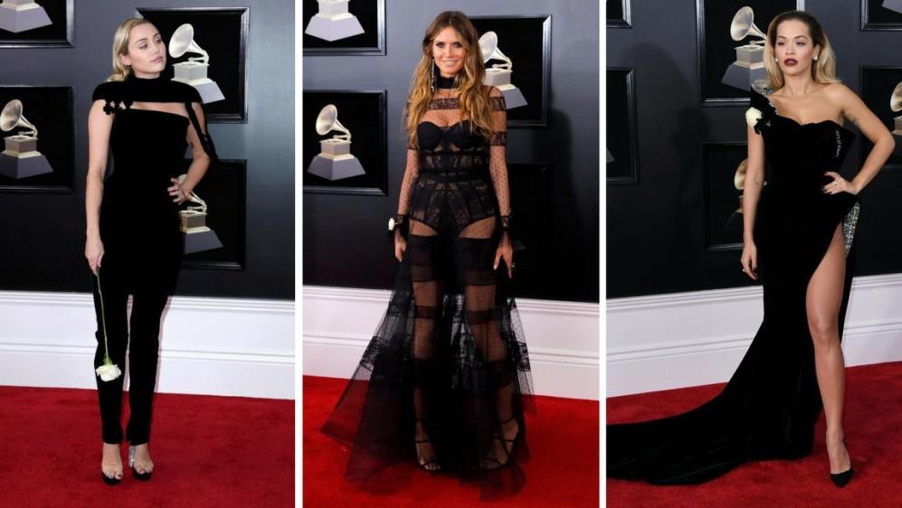 Eligieron el negro Miley Cyrus, Heidi Klum y Rita Ora. FOTOS EFE y AFP