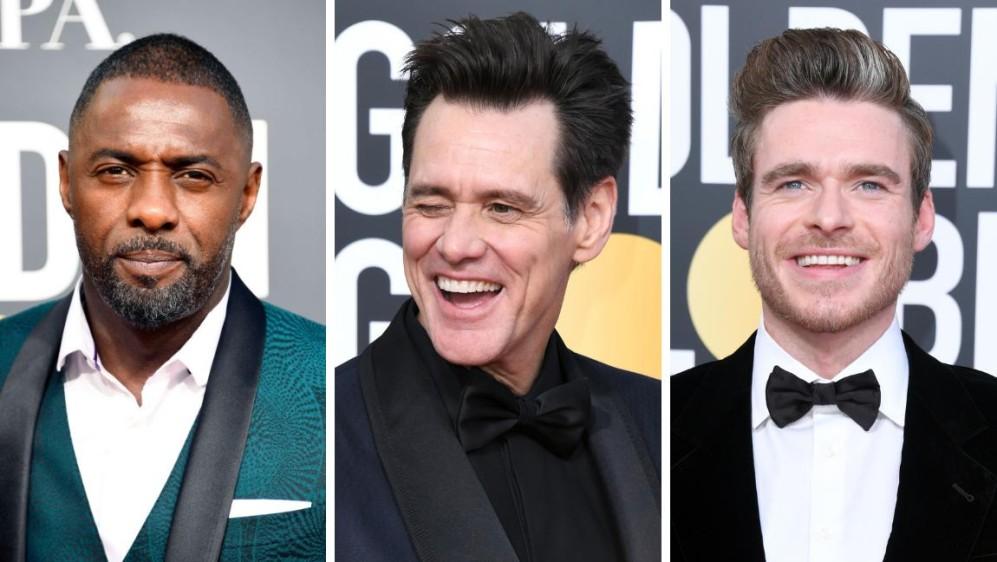 Idris Elba, Jim Carrey y Richard Madden ya en los Globo de Oro. FOTO AFP