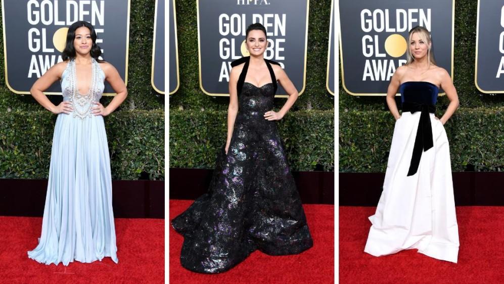 Gina Rodriguez, Penélope Cruz y Kaley Cuoco. FOTOS AFP