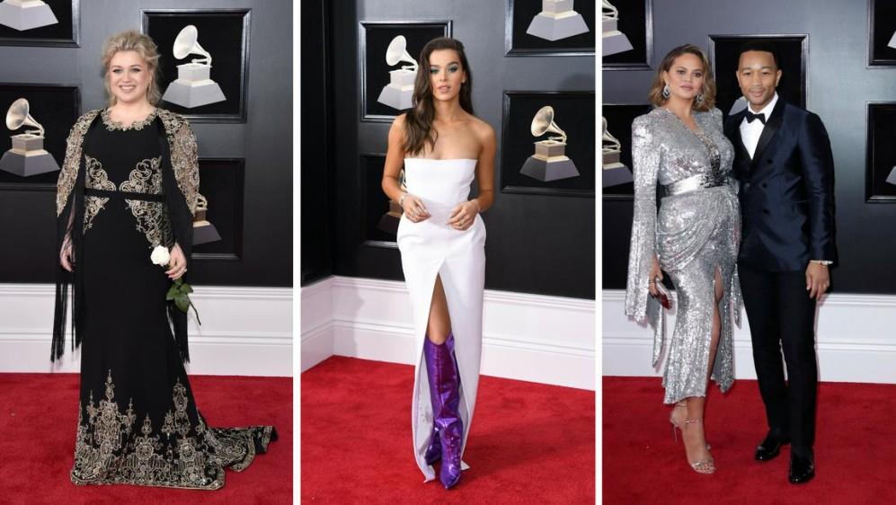 Kelly Clarkson, Hailee Steinfeld y Chrissy Teigen y John Legend. FOTOS AFP y EFE
