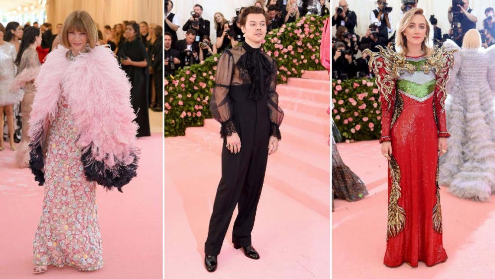 Anna Wintour, Harry Styles y Saoirse Ronan. FOTOS AFP