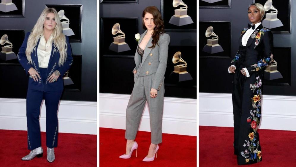 Kesha, Ana Kendrick y Janelle Monae decidieron ir de traje. Mejor llevado el de Kendrick. FOTOS EFE y Reuters