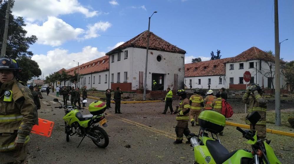 Así quedó la Escuela de Policía General Santander tras la explosión. FOTOS CORTESÍA