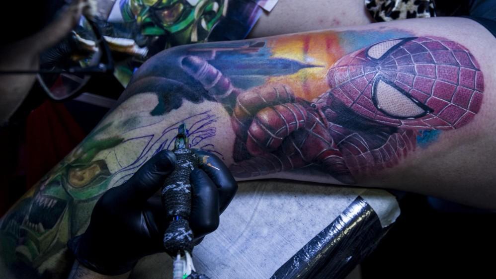 Spiderman,un rostro animal, y una variedad de imágenes sobresalían en Expotatuajes. Foto: JAIME PÉREZ MUNEVAR