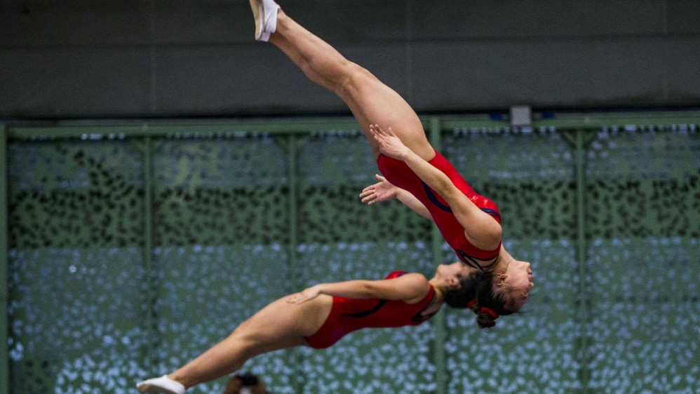 Entrenamiento de algunos equipos de gimnasia que participaron en el Pacific Rim en Medlelín, delegación de USA . Foto: Jaime Pérez.