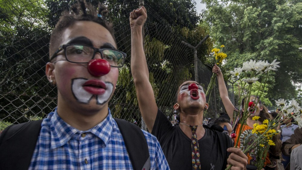Los jóvenes fueron los protagonistas principales en las manifestaciones. Foto Santiago Mesa