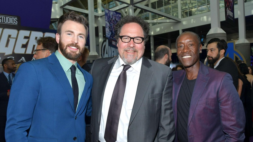 Chris Evans, Jon Favreau y Don Cheadle. FOTO Afp